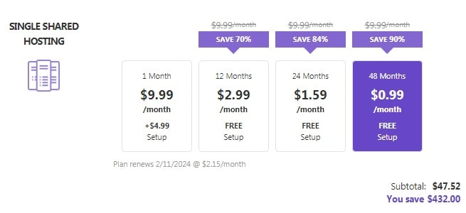 WordPress Hosting Plan Purchase